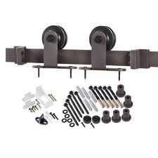 Features: -Includes all mounting hardware. -Anti-jump discs prevent hanger wheels from jumping off track. -Predrilled holes included: Yes. Style (Old): -Contemporary. Product Type: -Barn Door Har
