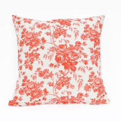 Coral Wildflower Cushion