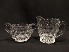 Fostoria Cubist Depression Glass Creamer and Sugar Clear #Fostoria