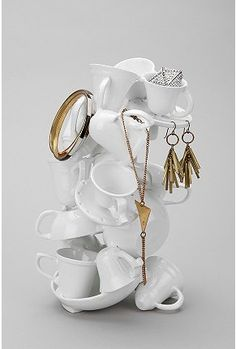 Stacked Tea Cups Jewelry Stand