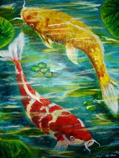 acrylic painting of two koi