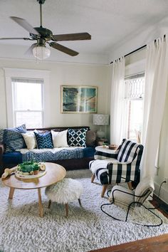 chic blue and white cozy living room decorations dream home