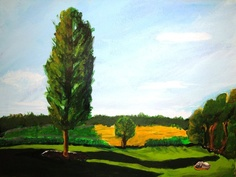 Riverside park in West Bend Wi. Acrylic on Paper