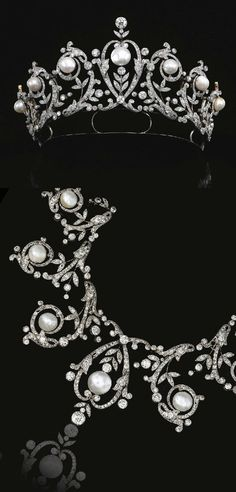Pearl and Diamond TiaraNecklace  - c. 1900- graduated open work garlands of floral and foliate motifs, highlighted with seven pearls from 11.6 to 15.4 mm - rose-cut, cushion-shaped and circular-cut diamonds -  $137,200 at auction