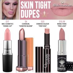 Jeffree Star Skin Tight Lip Ammunition Dupes [Summer 2017 - Rebel Without Applause Skincare Dupes, Drugstore Makeup Dupes, Beauty Dupes, Beauty Makeup, Elf Dupes, Lip Makeup, I Love Makeup, Cute Makeup, Jeffree Star