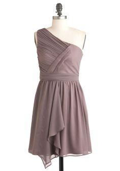 Over Dessert Dress - Short, Solid, Ruching, Wedding, Party, One Shoulder, Purple, Sheath / Shift