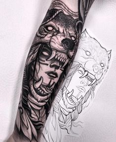 Did this wolf headdress last week! Thanks a lot Darren! I will be in Frankfurt C… Did this wolf headdress last week! Thanks a lot Darren! I will be in Frankfurt Convention next month! Wolf Tattoos, Hai Tattoos, Tattoos 3d, Native Tattoos, Viking Tattoos, Trendy Tattoos, Animal Tattoos, Forearm Tattoos, Body Art Tattoos