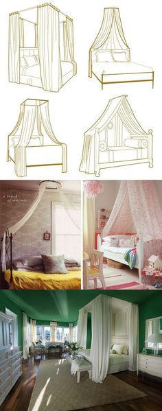 10 Ways to get the Canopy Look without buying a New Bed// the singular beam would be great for the mermaid dorm