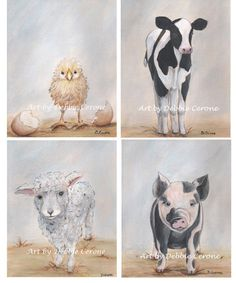 Set of 3 Farm Animal Prints. Choose from cow by NurseryRembrandts