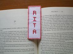 White bookmark red Rita needlecraft cross stitch hand sewn handmade birthday baptism graduation gift by Allisonscsc on Etsy