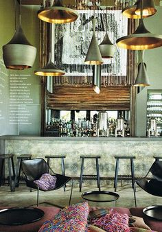 Patricia Urquiola Bar/ green & gold pendant lights