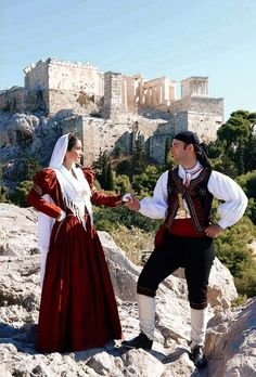 Leukada Mediterranean People, Folk Dance, Folk Costume, People Of The World, Ethnic Fashion, Dance Costumes, Traditional Outfits, Greece, Ruffle Blouse