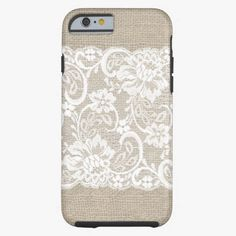 Love this iPhone 6 Case! Vintage Burlap and Lace iPhone 6 case iPhone 6 Case