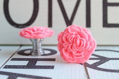 Drawer Knobs Peony Flower in Salmon Pink more COLORS by DaRosa