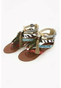 #Mixed media feather sandals