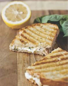 MADE---Lemon-Basil Grilled Cheese Panini .the most fresh-tasting grilled cheese sandwiches you're going to find Think Food, I Love Food, Good Food, Yummy Food, Tasty, Cookbook Recipes, Cooking Recipes, Cuban Recipes, Desert Recipes