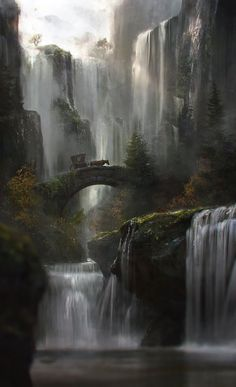 "fantasyartwatch: ""The Waterfall by Jordi Gonzalez Escamilla """
