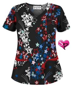 7633ecd53c1 UA Star Spangled Red Print Scrub Top Style # UA638SRE #uniformadvantage  #uascrubs #adayinscrubs