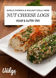 Garlic Paprika & Chili Herb Walnut Nut Cheese Logs (Dairy-Free) (The Vedge) Vegan Cheese Recipes, Vegan Foods, Vegan Dishes, Raw Food Recipes, Vegetarian Recipes, Healthy Recipes, Cheese Log, Nut Cheese, Dairy Free Cheese
