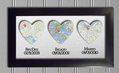 Personalized heart map wall art $42.50   Great wedding gift.