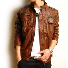Men's leather jacket, chocolate brown