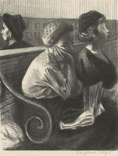 Raphael Soyer (1899-1987) Railroad Waiting Room, 1954 (lithograph) Childs Gallery