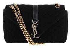 Saint Laurent Ysl Velvet Shoulder Bag