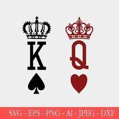 Queen Crown Tattoo, King Queen Tattoo, Queen Of Hearts Tattoo, Queen Of Hearts Card, Queen Of Spades Tattoo, King Y Queen, King And Queen Crowns, Playing Card Tattoos, Playing Cards