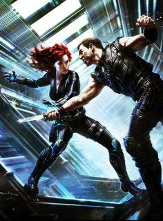 """""""Cognitive recalibration"""" -- Black Widow and Hawkeye.  Marvel concept art for """"Avengers"""" by Andy Park."""