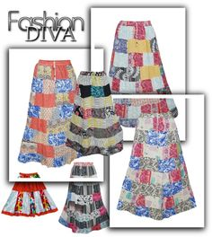 GYPSY SKIRTS FOR WOMEN: Women's Ethnic Print Patchwork Skirts