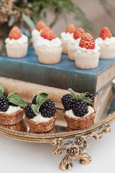 Mini Cupcakes with Forest Berries | Tea Time Use Silver trays instead