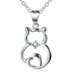 Cute Silver Cat Pendant