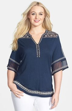 Lucky Brand 'Kiana' Embroidered Tunic Top (Plus Size) available at #Nordstrom