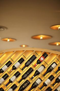 Wine wall idea for future bar! Restaurant Design, Restaurant Bar, Wine Cellar Design, Wine Design, Design Commercial, Home Wine Cellars, Wine Display, Wine Wall, Wine Cabinets