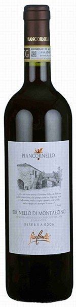 Piancornello Brunello di Montalcino Riserva 2006 - Bubble Brothers €49.00 Aromatic and direct with a big nose of raspberry conserve, oregano and woodspice. The tannic, full-bodied, palate has pure, fresh acidity and intense flavours of sour cherry, chcocolate, pine and charcoal. Long, exquisite finish.  This wine will repay decanting, and drinking with relatively unadorned, savoury foods, like grilled lamb cutlets in herbs or a simple cheese plate.  14.5% ABV