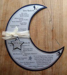Goodnight Moon - Moon Shaped Wedding Program with Stars - Set of 10. $51.50, via Etsy.