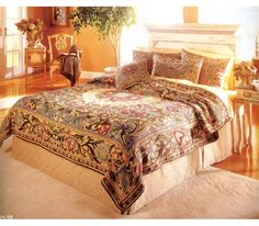Stunning William Morris classic design woven Flemish tapestry bedspread and pillow shams