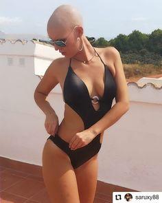 Swimwear Fashion, Bikini Swimwear, Bikinis, Bald Look, Bald Women, Shaved Head, Creative Colour, Cute Girl Outfits, Strike A Pose