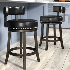 Darby Home Co Weinberger Bar & Counter Swivel Stool with Cushion Upholstery: Brown, Seat Height: Counter Stool Seat Height) Swivel Counter Stools, Counter Height Bar Stools, 24 Bar Stools, Bar Counter, Home Bar Sets, Bars For Home, Stools For Kitchen Island, Backless Bar Stools, Stools With Backs