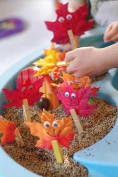 Fall Sensory Table - Fall Sensory Table - with leaf people! My kids are too old for this but the leaf people are cute! Fall Sensory Bin, Sensory Tubs, Sensory Play, Sensory Diet, Fall Preschool Activities, Sensory Activities, Toddler Activities, Class Activities, Preschool Math