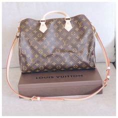My new Louis Vuitton Speedy Bandouliere 35 in the monogram canvas hot stamped with my initials. I'm so in love. I do own a speedy b 30 in the DE canvas and although I do love her and she does occasionally get used I find it difficult with the print to go with everything and the 30 is just to small for my everyday needs. P.s my style is a lot of neutrals, sometimes boho rock chic I really admire Miranda Kerr style.