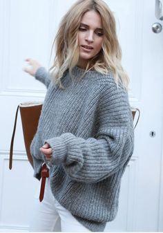 89eecb5ee1ac2f Grey Plain Long Sleeve Casual Acrylic Pullover Sweater. Oversized JumpersBig  Comfy SweatersOversized Grey SweaterChunky Knit ...
