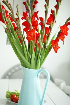 Red Gladioli || always must have fresh flowers! especially in cute vases