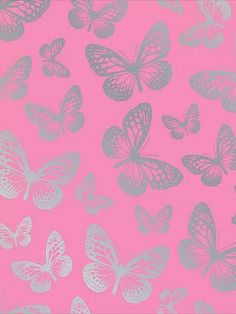 pink & silver butterflies Background / lockscreen