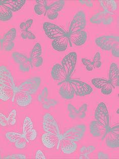pink & silver butterflies Background / lockscreen