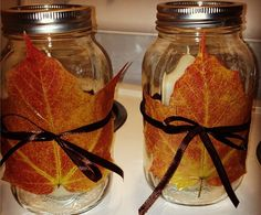 Candle Votives7 Crafts That Bring Colorful Fall Leaves Inside | Great Fall candle votive!!