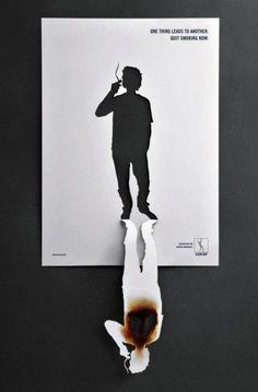 Publicidad creativa contra el tabaco Poster creativo contra el tabaco en el que se representa la gravedad del mismo para tus salud.