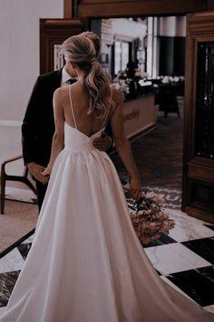 Fit And Flare Wedding Dress, Sexy Wedding Dresses, Sexy Dresses, Bridesmaid Dresses, Wedding Dress Low Back, Bridal Dresses, Simple Elegant Wedding Dress, Elegant Dresses, Modest Wedding