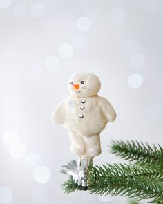 """adorable-""""Kerplunk Snowman"""" Clip Christmas Ornament by Debbee Thibault at Horchow."""