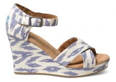Blue Ikat Womens Strappy Wedges | TOMS.com #toms